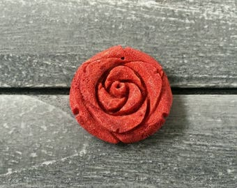 Large Natural Top Drilled Orange Red Sponge Coral Carved Rose Flower Pendant
