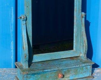 Vintage Indian Blue Wooden Vanity Mirror