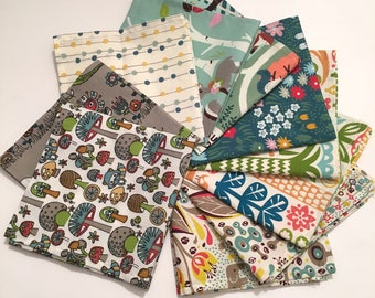 Set of 3 printed organic cotton handkerchiefs
