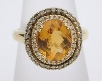Le Vian Oval Cetrine Ring with Double Diamond Halo. Chocolate Diamonds. 14k Yellow Gold