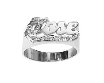 SNS116Bd 12mm Silver Block Letter Accented w/ 8 Diamond Name Ring