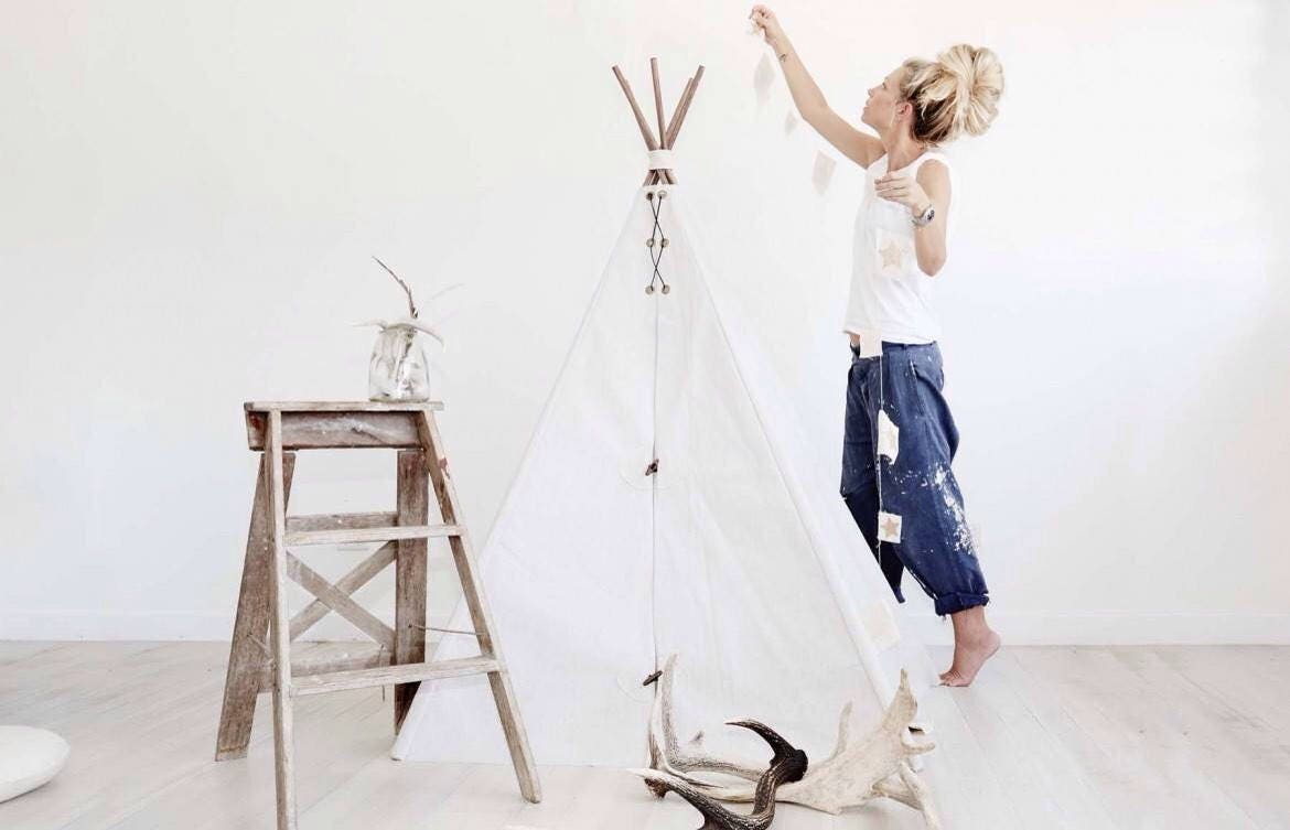 Childrens Canvas Teepee kids play tent cubby house; 1.5m high x 1.35m wide cotton canvas handmade wigwam tipee TENT ONLY & Childrens Canvas Teepee kids play tent cubby house; 1.5m high x ...