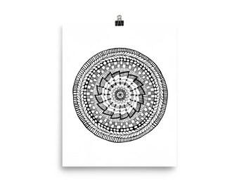 Zentangle Inspired Mandala Poster