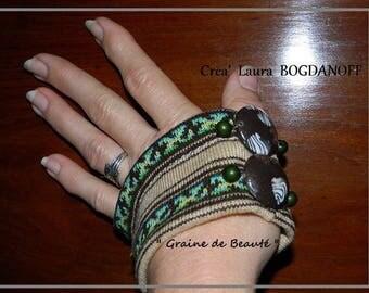 headband and cuff set in unique fabric, creating Madame Bo