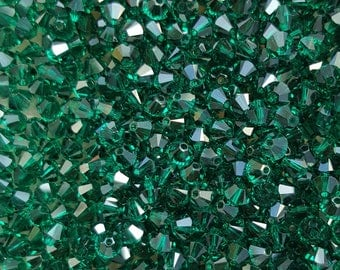 Swarovski 4mm Bicone Faceted Crystal Beads - EMERALD - Select 10, 20, 50 or 100