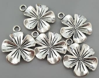 5 Petal Flower Charms, Antiqued Silver, 23x20mm - 5 Pieces