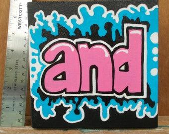 "And Painting Retro Mod Grafitti Pop Art Small 6"" X 6"" Pink"