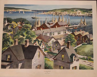"""Vintage Henry Gasser Lithograph titled """"Summer Inlet"""" - 24.5"""" by 31.5"""", Art - Lore Inc. New York"""