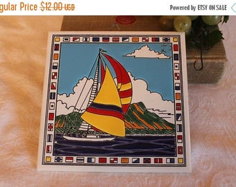SALE Beautiful Vintage Ceramic Wall Hanging Tile with Hand Painted Sailboat and Nautical Flags