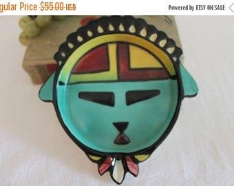 SALE Vintage Sims Pottery Southwestern Kachina Face Plate - Native American