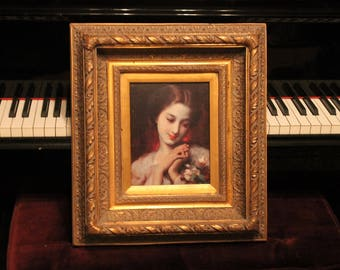 Gorgeous Victorian Ornately Framed Lithograph titled Fresh Roses - Gold Gilded