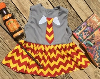 Harry Potter Gryffindor Inspired Peplum top dress READY TO SHIP size 12 months to 12 girls Hermione Universal Studios Harry Potter World