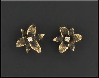 RESERVED for L. - Vintage 14k Gold Diamond Flower Earrings   14k Gold Stud Earrings   Diamond Earrings   Flower Earrings   Vintage Earrings