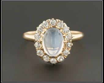 Vintage Moonstone & Diamond Ring | Vintage Moonstone Ring | 14k Gold Moonstone Ring | Moonstone Diamond Halo Ring | 14k Gold Ring