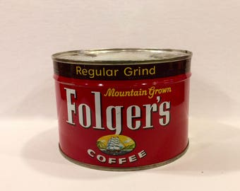 Vintage Folger's Coffee Tin, Vintage 1 Pound, metal Tin, Kitchen Decor, Mid Century, Factory Sealed, Unopened, Key attached, USA 1950s