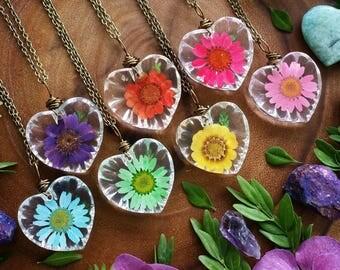 Real flower necklace, real flower, flower necklace,  real flower jewelry, pendant, floral necklace