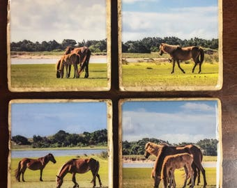 Stone coaster set of wild horses