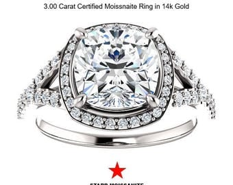 CERTIFIED 3.00 Carat Cushion Cut Moissanite Ring in 14K Gold (Starr Moissnaite)