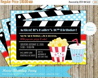 SALE LIMITED TIME Movie Night Party Invitation Movie Birthday Party Invites Digital Printable Girl or Boy