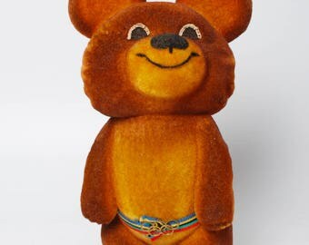 Vintage Russian Rubber Toy, the Russian Summer Olympic game symbol, bear (RT144)