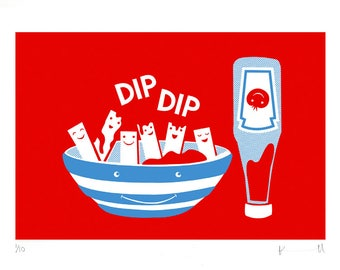 Chips & Ketchup DipDip Screen Print • Signed Limited Edition A3 Hand-pulled Original • Kitchen • Nursery • By Kate Maxwell DesignandDraw