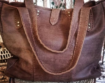 One of a kind, handmade, oversized, leather tote bag