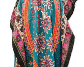 Plus Size Abstract Ethnic Floral Summer Print Drawstring Batwing Sleeve Kaftan Teal