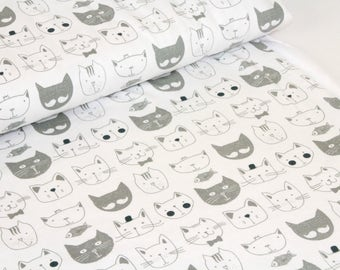 Organic Cotton Jersey Fabric - Cats Grey  UK Seller