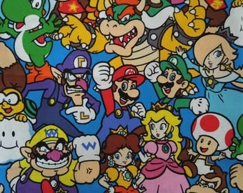 Mario and Friends Nintendo Cotton Fabric BTY