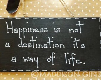 Happiness Inspirational Quote Wall Hanging Plaque Sign Positive Inspiration Gift Idea