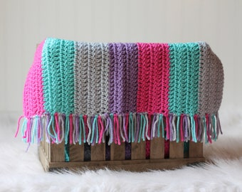 Crochet Baby Photograpy Mini Blanket Basket Stuffer Pink Purple Teal Aqua
