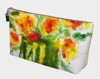 Orange Splendor/Purse Clutch Makeup Bag Toiletry bag Bridesmaid Purse Wristlet Wide Bottom Purse 10 inch Wedding Orange Yellow Green Floral