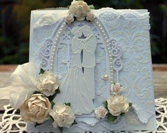 Elegant Wedding Card, handmade Wedding card, OOAK Wedding card,