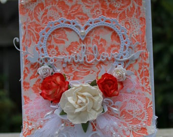 With Love handmade card, OOAK card, Persimmon and White Flower Card