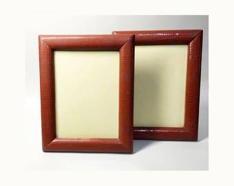2 Large French Vintage Leather Photo Frames - Light Brown Leather Photo Frames - 50s