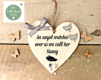 In Memory of Sign Plaque Personalised Mum Nan Grandad Granny Keepsake Hanging Heart loss Gift