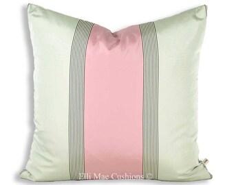 Luxury Designer Pink Grey Stripe Taffeta Fabric Cushion Pillow Throw Cover