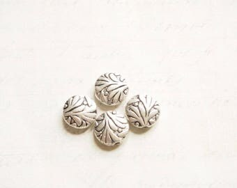 4 round beads pucks metal Leafs silver 10x10x4mm beads