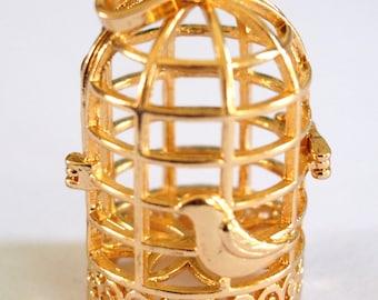 Birdcage bird cage and bird gold metal shiny 40x26mm