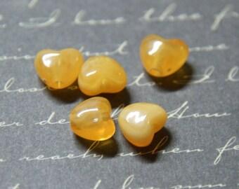 5 yellow acrylic heart 8 beads, 5x7mm