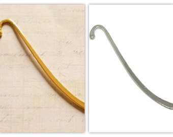 Simple bookmarks in gold tone or silver 87mm