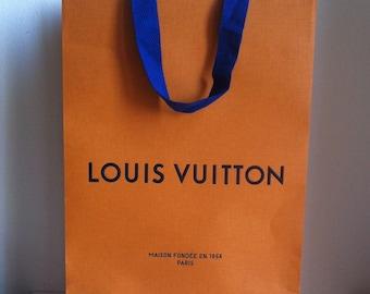 Medium LV Louis Vuitton Paper Bag Orange & Blue 35.3 x 25 x 11.2 CM