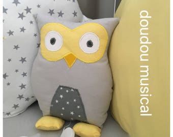 Musical plush or plush OWL or yellow and grey OWL unique and original handmade gift