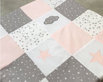 Mat of Park, awakening, set in white patchwork pink and grey with star and cloud