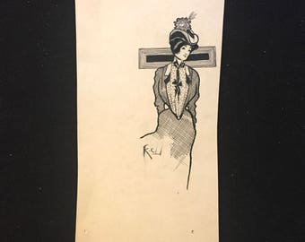 ca. 1900 Original Ink Fashion Illustration Kate Cathcart New York