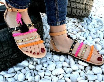 Handmade leather  strap sandal - Folegandros-Pom pom and studs