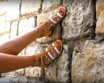 Gladiator Leather Sandal- Swarovski elements - Myconos-Greek handmade sandal