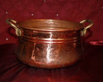 K4 Vintage Brass and Copper Cooking Pot or Flower Pot Appears to be Hand Made to me Farm House Country Kitchen