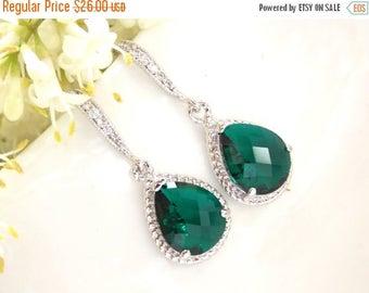 SALE Wedding Jewelry, Emerald Green Earrings, Green, Dark Green, Silver,Cubic Zirconia, Wedding Gifts, Bridesmaids Gifts,Bridesmaid Earrings