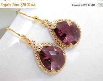 SALE Wedding Jewelry, Bridesmaid  Jewelry,Plum Earrings,Eggplant, Purple, Burgundy, Bridesmaid Gifts, Bridesmaid Earrings, Drop, Gold, Gifts